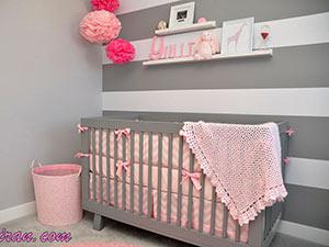 ترکیب رنگ صورتی و طوسی اتاق نوزاد