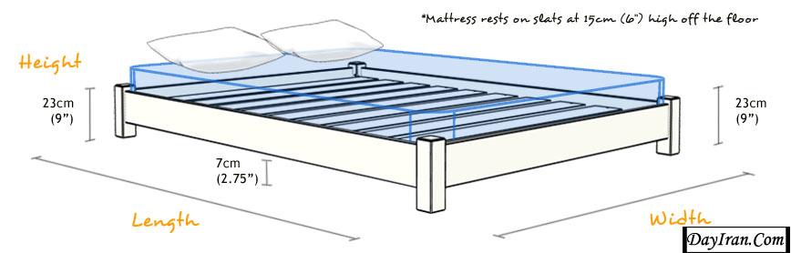 انواع سایز تخت خواب دو نفره 2