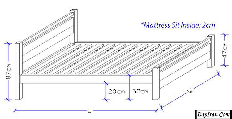 انواع سایز تخت خواب دو نفره 4