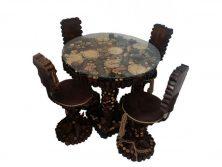 میز ناهار خوری گرد چوبی جنگلی
