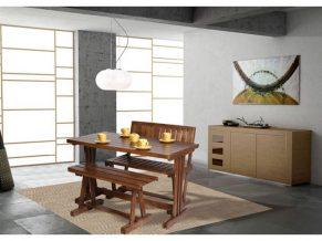 میز ناهار خوری نیمکت دار چوبی کلاسیک - N126