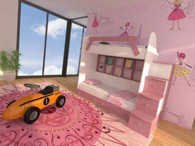 سرویس خواب دو طبقه صورتی