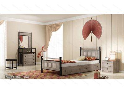 تخت خواب یک نفره فلزی کارینا