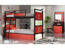 تختخواب چوبی فلزی دو طبقه بن تن