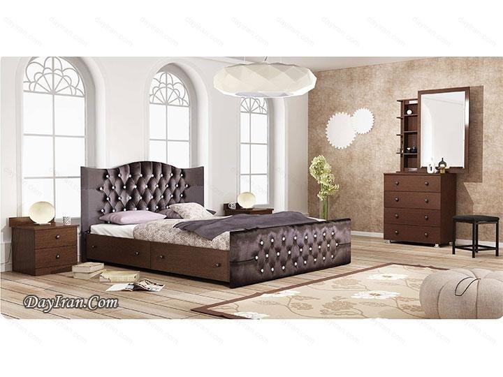 تخت خواب دو نفره چوبی رامونا