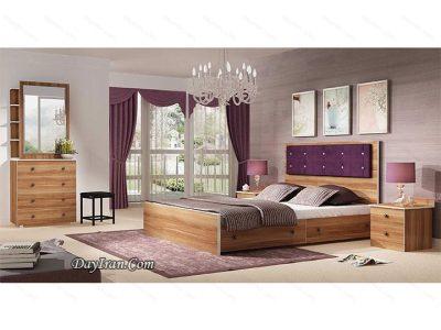 تخت خواب دو نفره چوبی کلارو