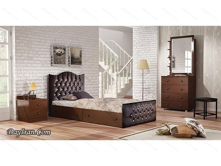 تخت خواب یک نفره چوبی رامونا