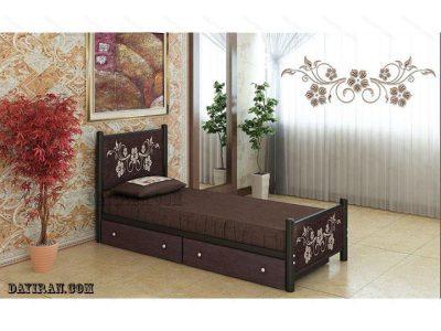 تخت خواب یک نفره فلزی گل