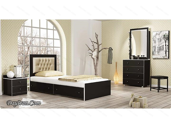 تخت خواب یک نفره چوبی پانتا