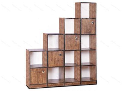 کتابخانه چوبی پلکانی درب دار
