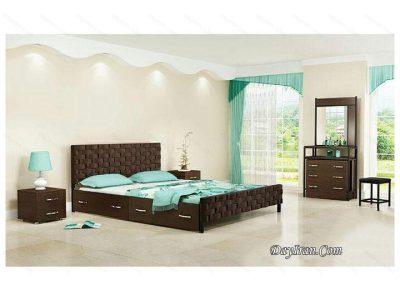 تخت خواب دو نفره چوبی تافته