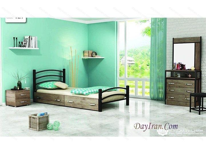تخت خواب یک نفره شادی - تخت خواب فلزی