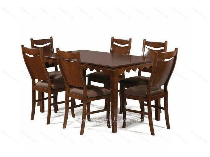 میز ناهارخوری چوبی شش نفره موج مکزیکی