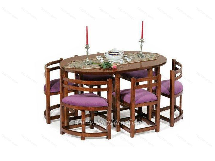 میز ناهار خوری کم جا بیضی