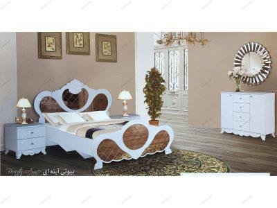 تخت خواب دو نفره بیوتی آینه ای