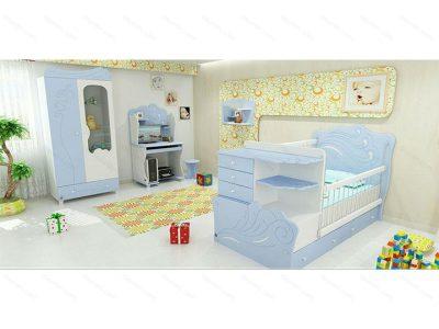 تخت خواب نوزاد نیلی