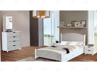 تخت خواب دو نفره چوبی مدل رکسانا