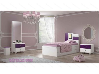 تخت خواب نوجوان دخترانه سفید مدل آرمیتا